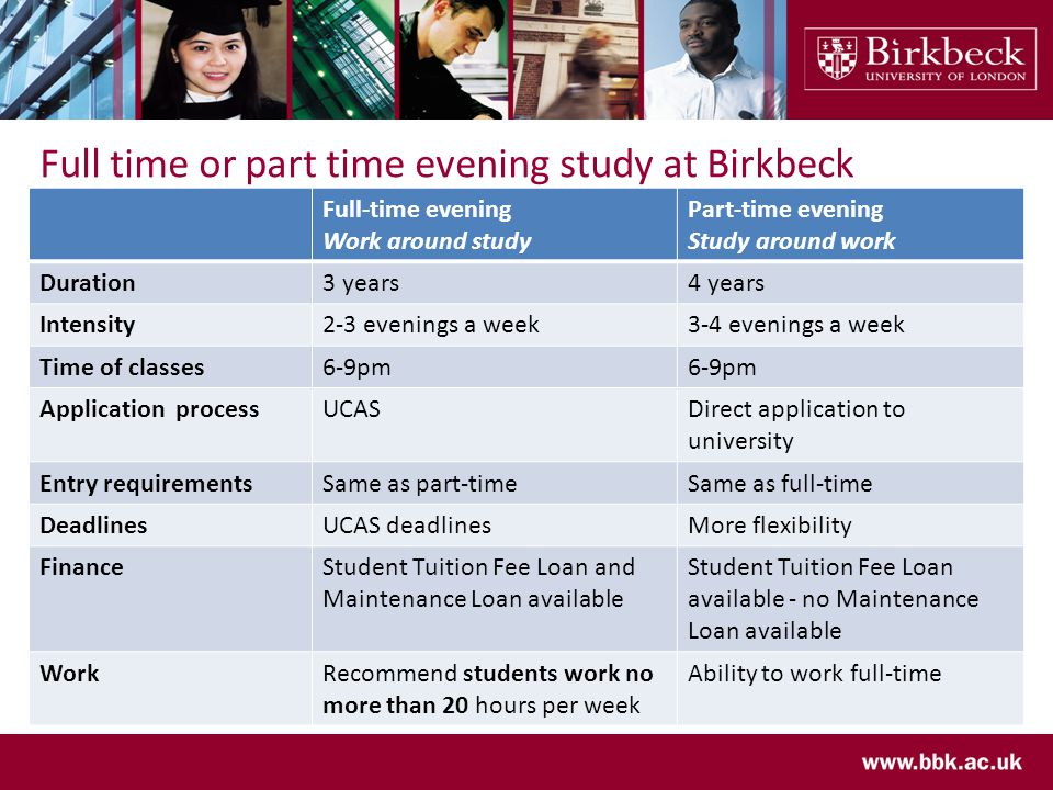 Full time or part time evening study at Birkbeck Full-time evening Work around study Part-time evening Study around work Duration3 years4 years Intensity2-3 evenings a week3-4 evenings a week Time of classes6-9pm Application processUCASDirect application to university Entry requirementsSame as part-timeSame as full-time DeadlinesUCAS deadlinesMore flexibility FinanceStudent Tuition Fee Loan and Maintenance Loan available Student Tuition Fee Loan available - no Maintenance Loan available WorkRecommend students work no more than 20 hours per week Ability to work full-time