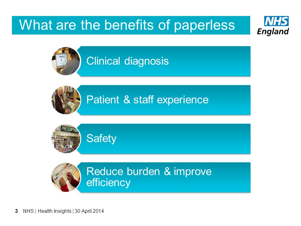 What are the benefits of paperless to the NHS? Clinical diagnosis Patient & staff experience Safety Reduce burden & improve efficiency 3NHS | Health I