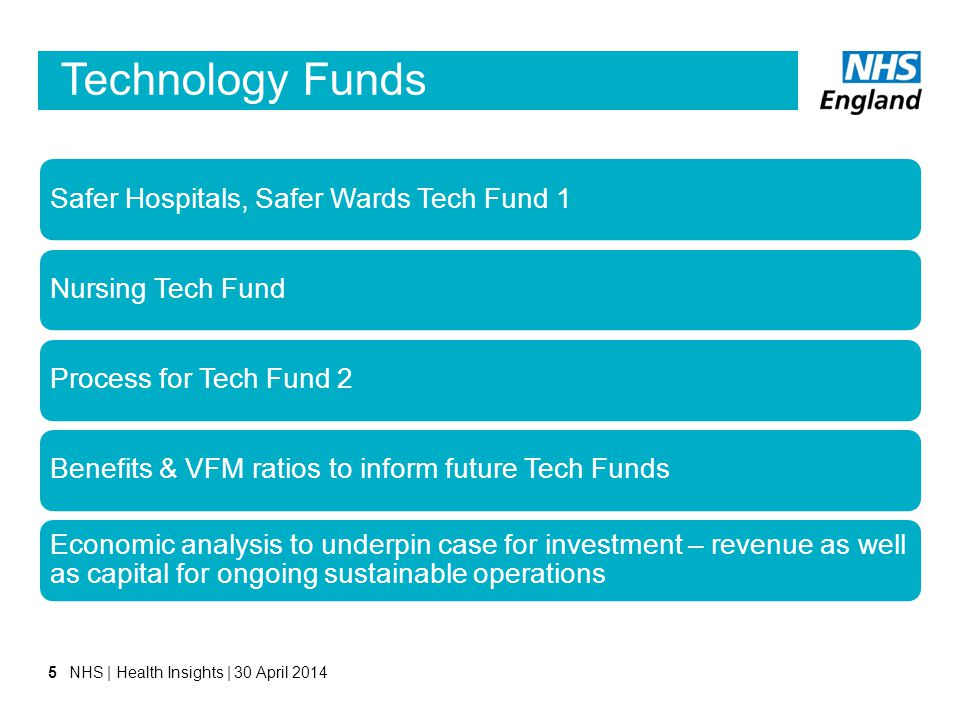 Technology Funds Safer Hospitals, Safer Wards Tech Fund 1Nursing Tech FundProcess for Tech Fund 2Benefits & VFM ratios to inform future Tech Funds Eco