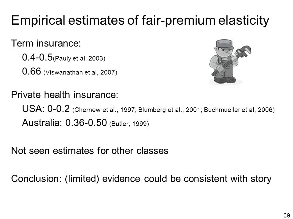 39 Empirical estimates of fair-premium elasticity Term insurance: 0.4-0.5 (Pauly et al, 2003) 0.66 (Viswanathan et al, 2007) Private health insurance: USA: 0-0.2 (Chernew et al., 1997; Blumberg et al., 2001; Buchmueller et al, 2006) Australia: 0.36-0.50 (Butler, 1999) Not seen estimates for other classes Conclusion: (limited) evidence could be consistent with story