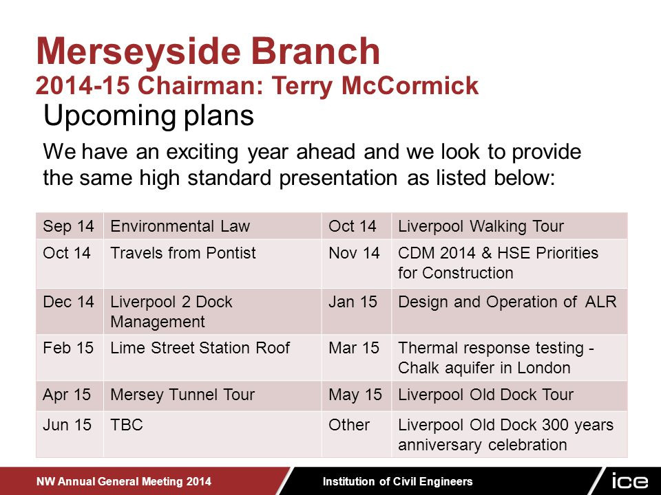 Institution of Civil Engineers NW Annual General Meeting 2014 Upcoming plans We have an exciting year ahead and we look to provide the same high standard presentation as listed below: Merseyside Branch 2014-15 Chairman: Terry McCormick Sep 14Environmental LawOct 14Liverpool Walking Tour Oct 14Travels from PontistNov 14CDM 2014 & HSE Priorities for Construction Dec 14Liverpool 2 Dock Management Jan 15Design and Operation of ALR Feb 15Lime Street Station RoofMar 15Thermal response testing - Chalk aquifer in London Apr 15Mersey Tunnel TourMay 15Liverpool Old Dock Tour Jun 15TBCOtherLiverpool Old Dock 300 years anniversary celebration