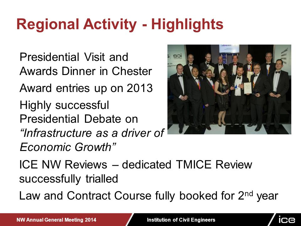 Institution of Civil Engineers NW Annual General Meeting 2014 Presidential Visit and Awards Dinner in Chester Award entries up on 2013 Highly successful Presidential Debate on Infrastructure as a driver of Economic Growth Regional Activity - Highlights ICE NW Reviews – dedicated TMICE Review successfully trialled Law and Contract Course fully booked for 2 nd year