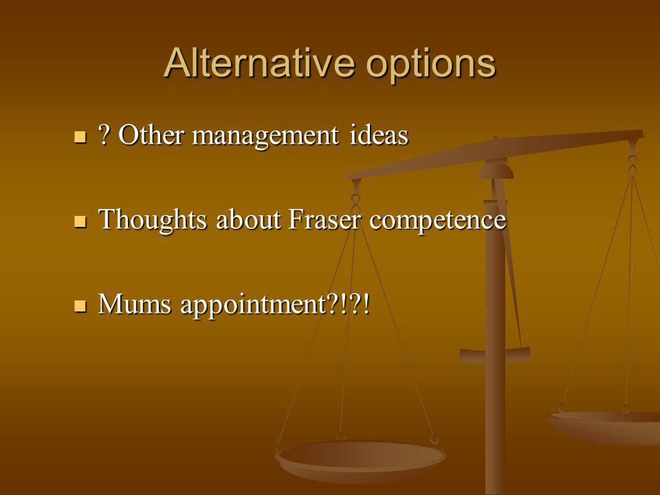 Alternative options . Other management ideas .