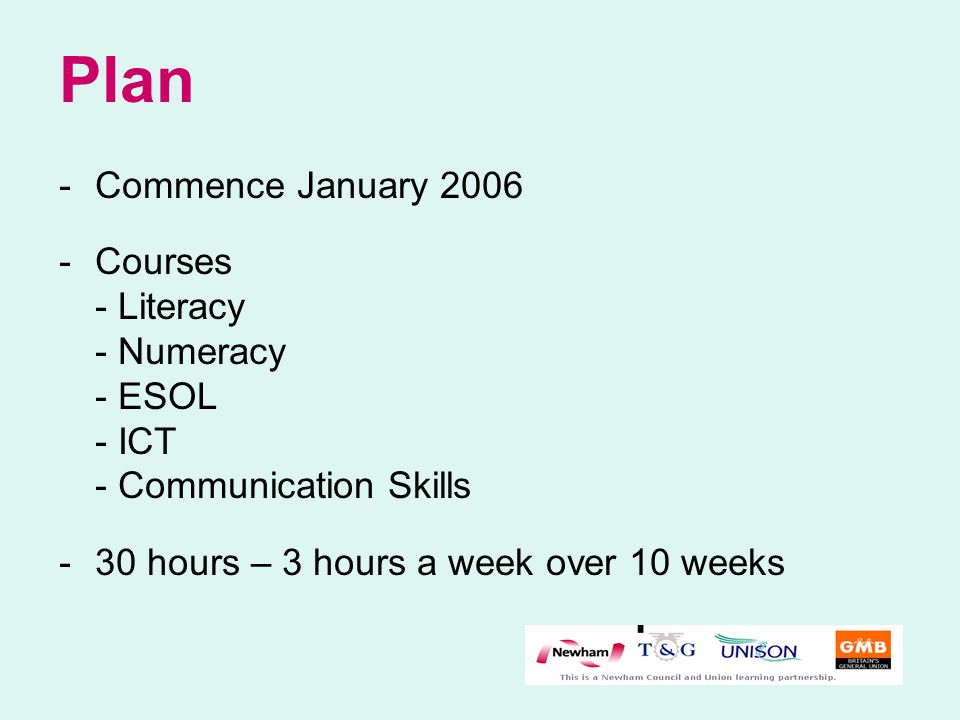 Plan -Commence January 2006 -Courses - Literacy - Numeracy - ESOL - ICT - Communication Skills - 30 hours – 3 hours a week over 10 weeks