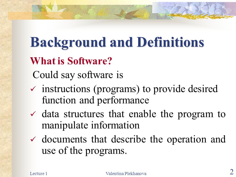 Lecture 1Valentina Plekhanova 2 Background and Definitions What is Software.