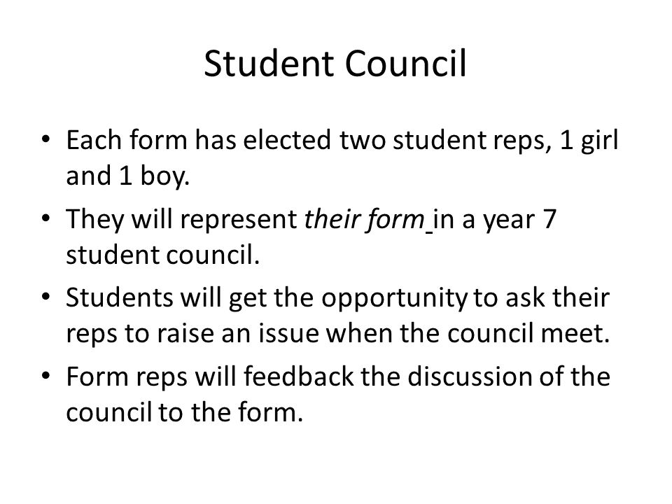 Student Council Each form has elected two student reps, 1 girl and 1 boy.