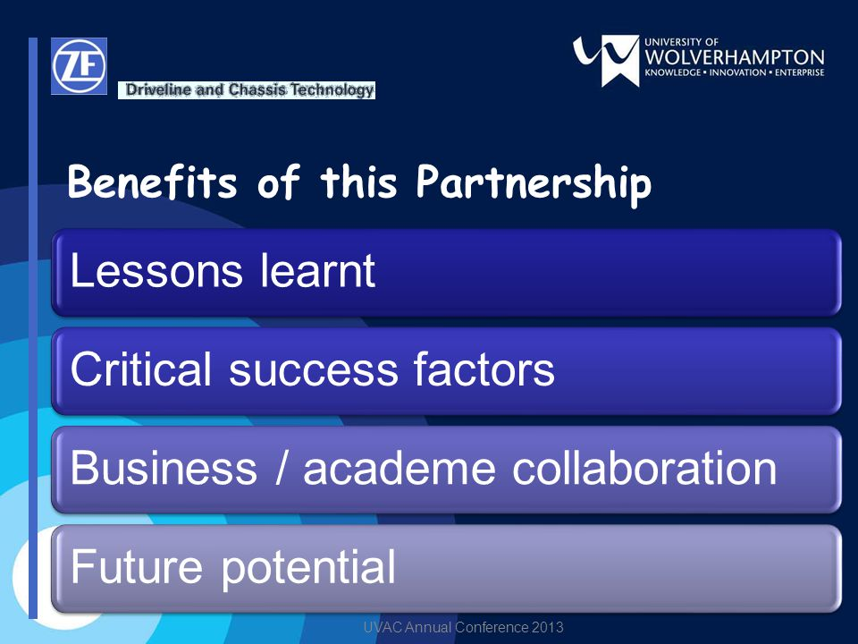 UVAC Annual Conference 2013 Benefits of this Partnership Lessons learntCritical success factorsBusiness / academe collaborationFuture potential