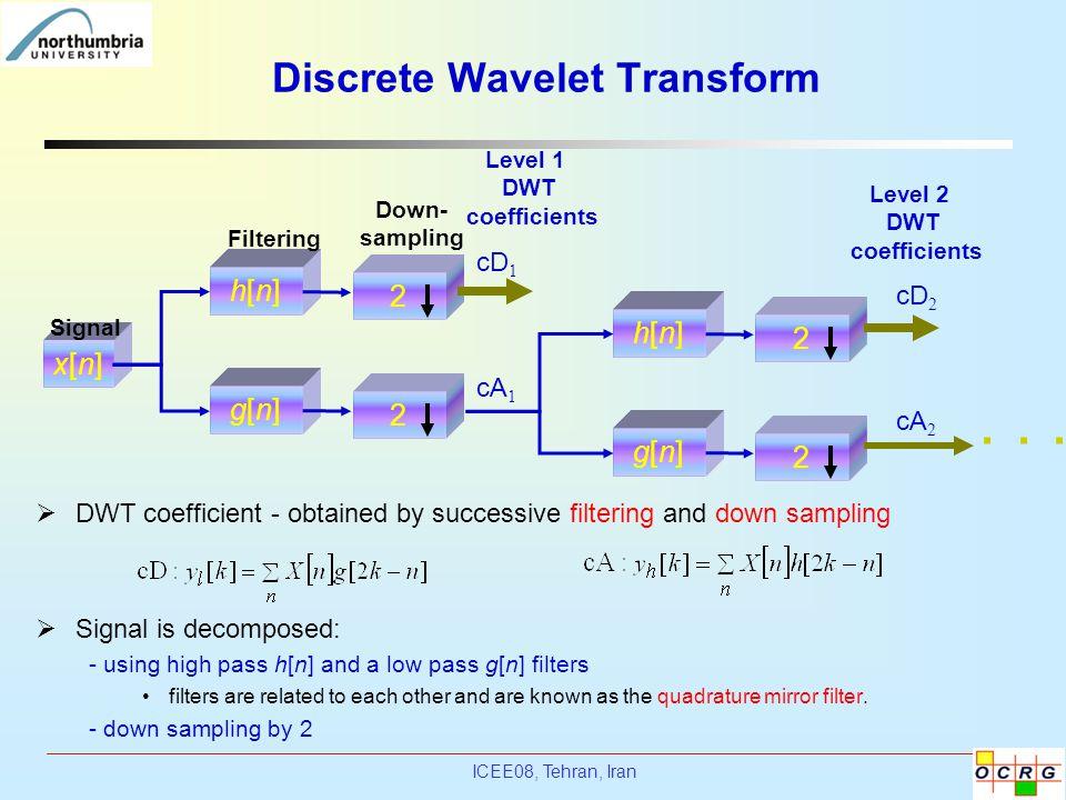ICEE08, Tehran, Iran Discrete Wavelet Transform x[n]x[n] h[n]h[n] 2 g[n]g[n] 2 h[n]h[n] 2 g[n]g[n] 2 Level 1 DWT coefficients Level 2 DWT coefficients