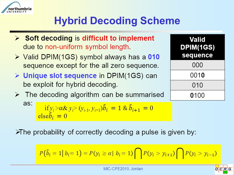MIC-CPE2010, Jordan Hybrid Decoding Scheme  Soft decoding is difficult to implement due to non-uniform symbol length.