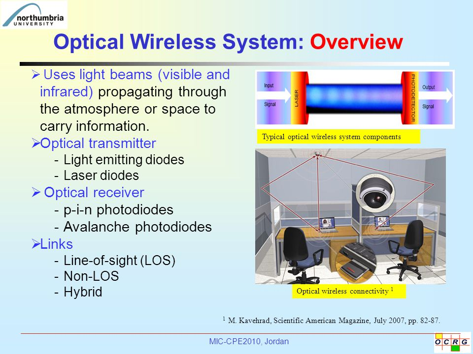 MIC-CPE2010, Jordan Optical Wireless System: Overview 1 M.