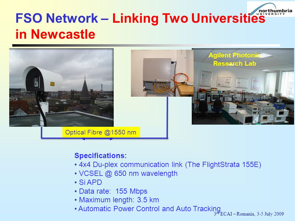 Specifications: 4x4 Du-plex communication link (The FlightStrata 155E) VCSEL @ 650 nm wavelength Si APD Data rate: 155 Mbps Maximum length: 3.5 km Automatic Power Control and Auto Tracking Optical Fibre @1550 nm Agilent Photonic Research Lab FSO Network – Linking Two Universities in Newcastle 3 rd ECAI – Romania, 3-5 July 2009