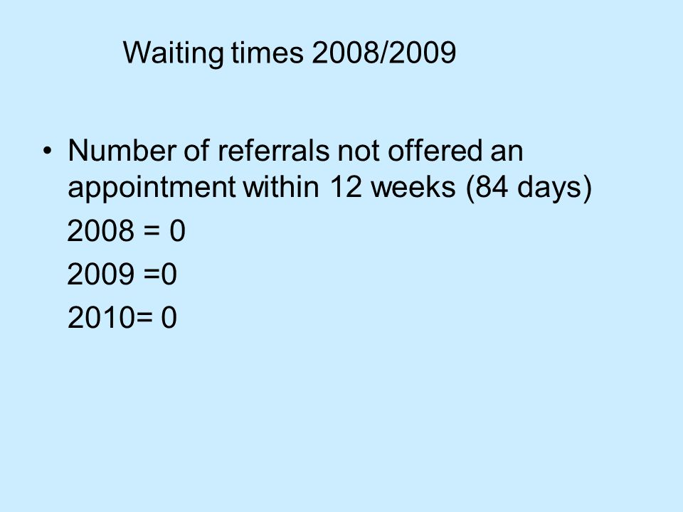 Number of referrals not offered an appointment within 12 weeks (84 days) 2008 = =0 2010= 0 Waiting times 2008/2009