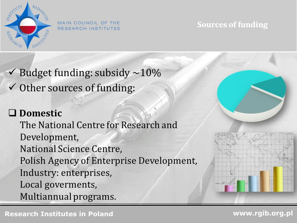 R&D Units in Poland Budget funding: subsidy ~10% Other sources of funding:  Domestic The National Centre for Research and Development, National Science Centre, Polish Agency of Enterprise Development, Industry: enterprises, Local goverments, Multiannual programs.