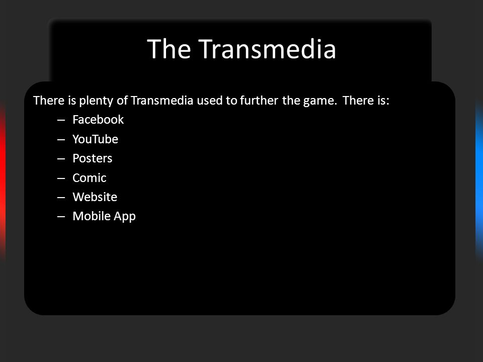 The Transmedia There is plenty of Transmedia used to further the game.