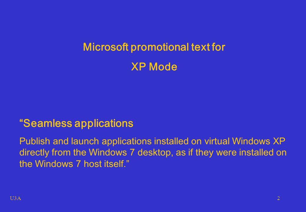 U3A3 My Win 7 pro desktop