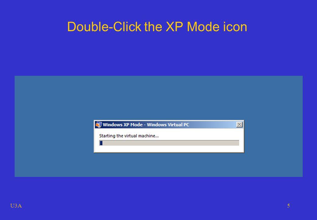 U3A6 Windows XP Professional, running, full-screen, as a window in Windows 7 Professional, using the Windows Virtual PC application.