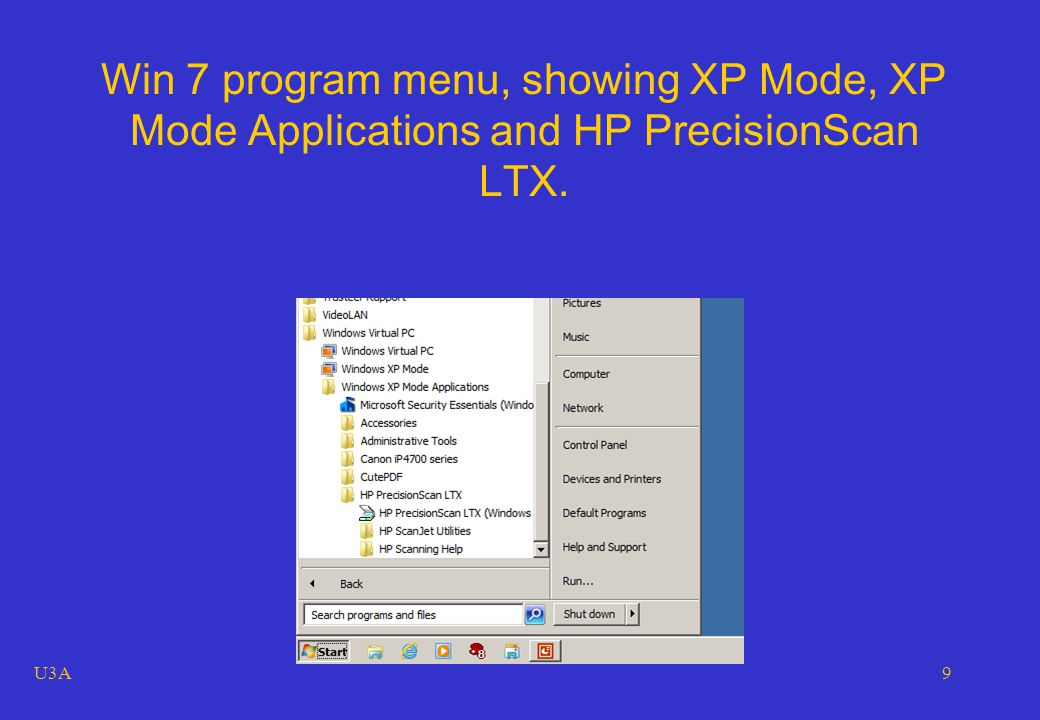 U3A9 Win 7 program menu, showing XP Mode, XP Mode Applications and HP PrecisionScan LTX.