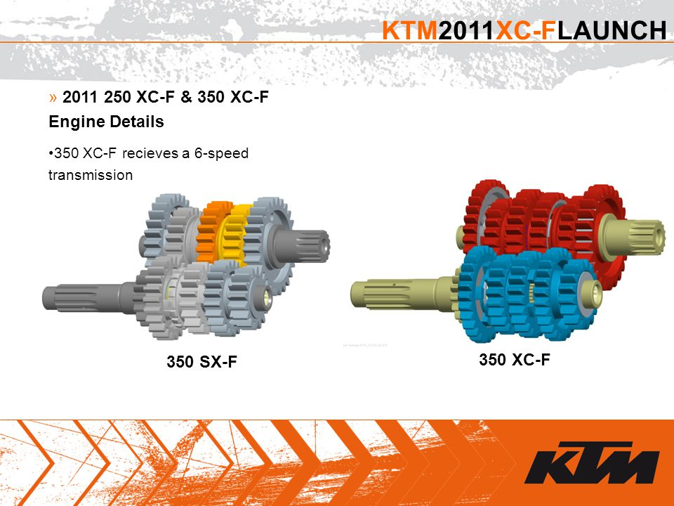 » 2011 250 XC-F & 350 XC-F Engine Details 350 XC-F recieves a 6-speed transmission KTM2011XC-FLAUNCH 350 SX-F 350 XC-F