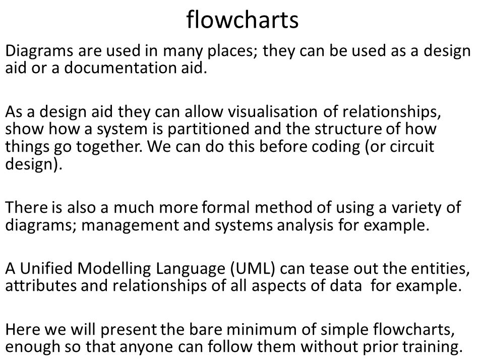 flowcharts Diagrams are used in many places; they can be used as a design aid or a documentation aid.