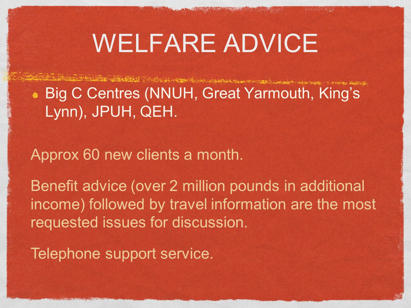WELFARE ADVICE Big C Centres (NNUH, Great Yarmouth, King's Lynn), JPUH, QEH. Approx 60 new clients a month. Benefit advice (over 2 million pounds in a