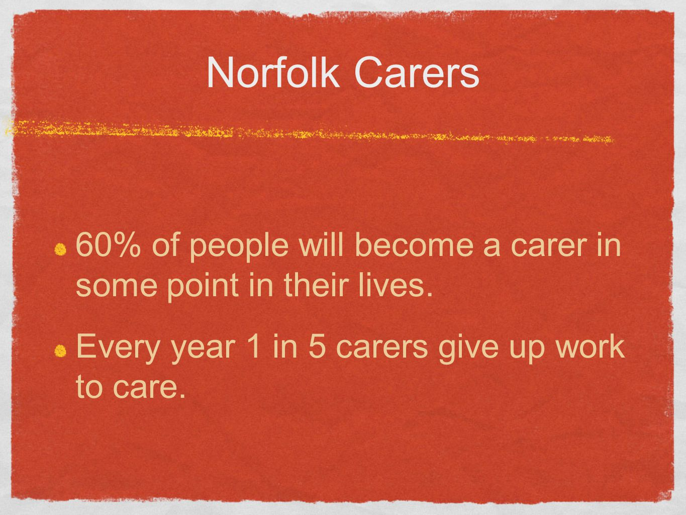 Norfolk Carers 60% of people will become a carer in some point in their lives. Every year 1 in 5 carers give up work to care.