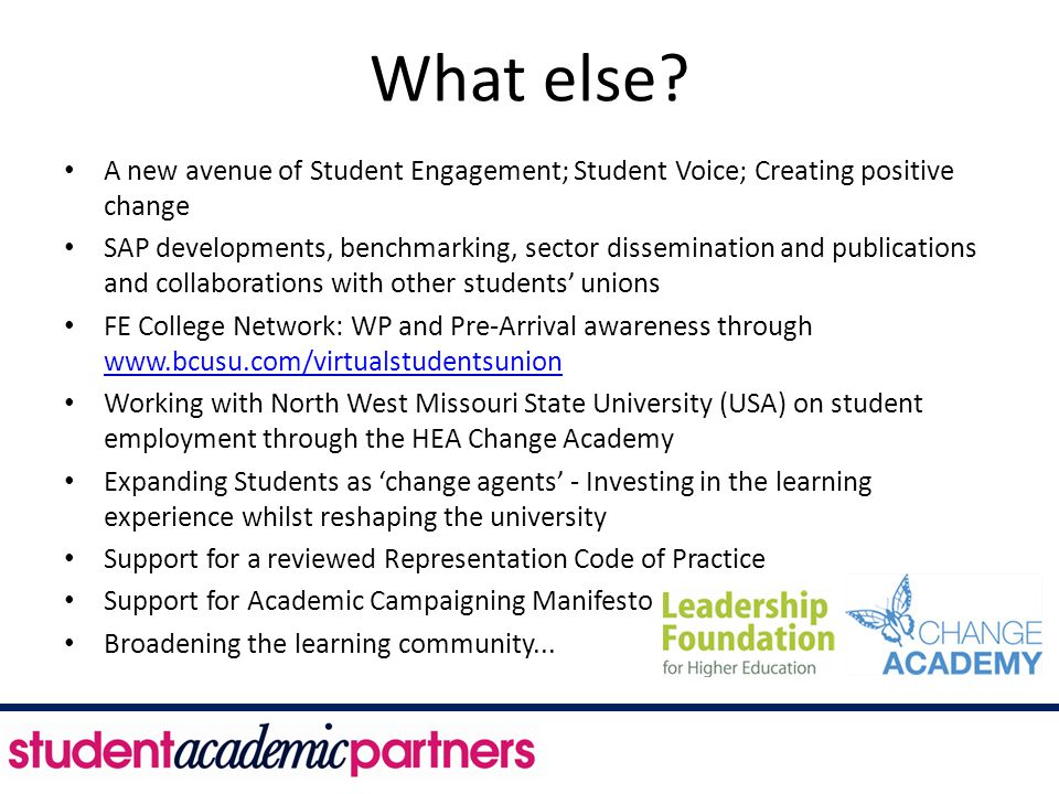 What else? A new avenue of Student Engagement; Student Voice; Creating positive change SAP developments, benchmarking, sector dissemination and public