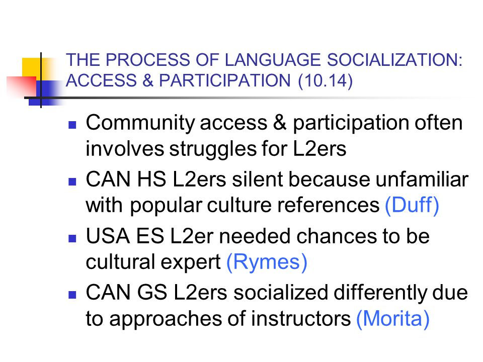 THE PROCESS OF LANGUAGE SOCIALIZATION: ACCESS & PARTICIPATION (10.14) Community access & participation often involves struggles for L2ers CAN HS L2ers