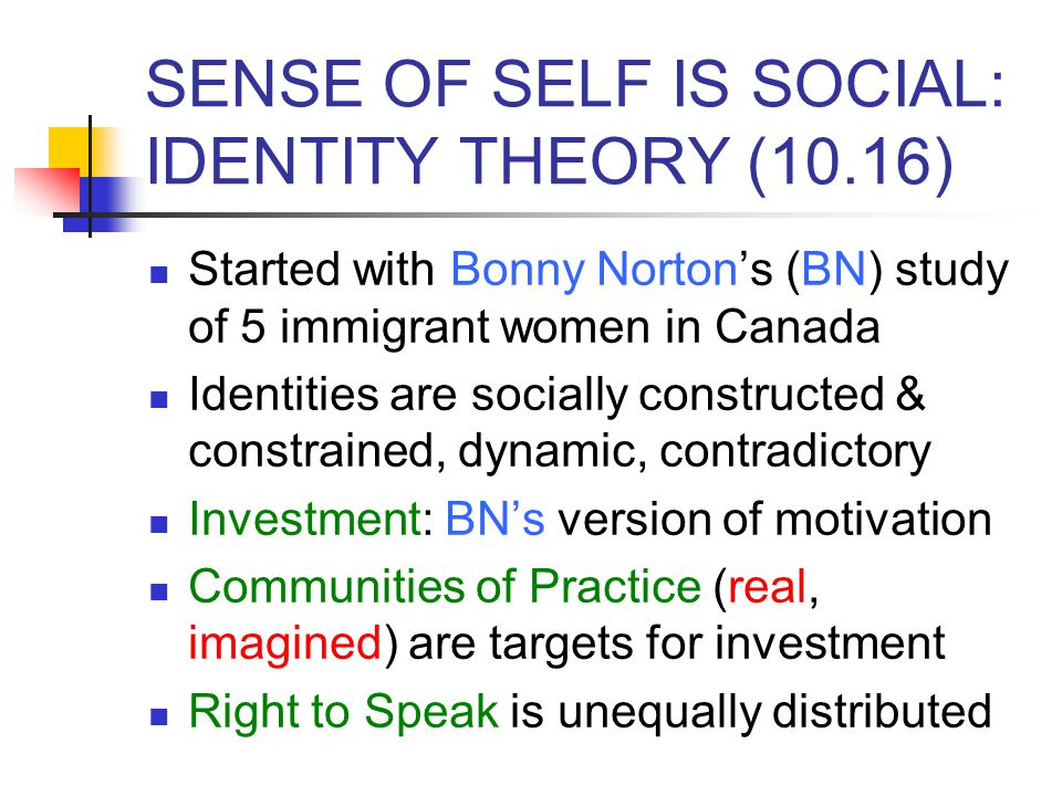 SENSE OF SELF IS SOCIAL: IDENTITY THEORY (10.16) Started with Bonny Norton's (BN) study of 5 immigrant women in Canada Identities are socially constru
