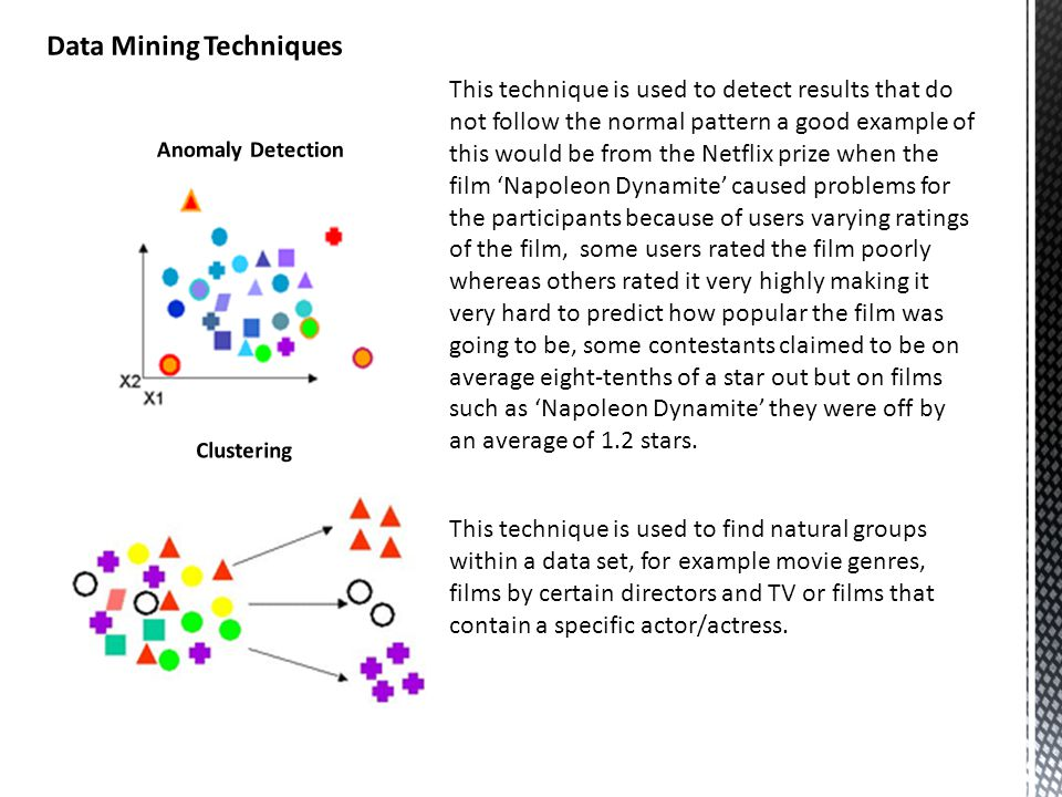This technique is used to find natural groups within a data set, for example movie genres, films by certain directors and TV or films that contain a specific actor/actress.