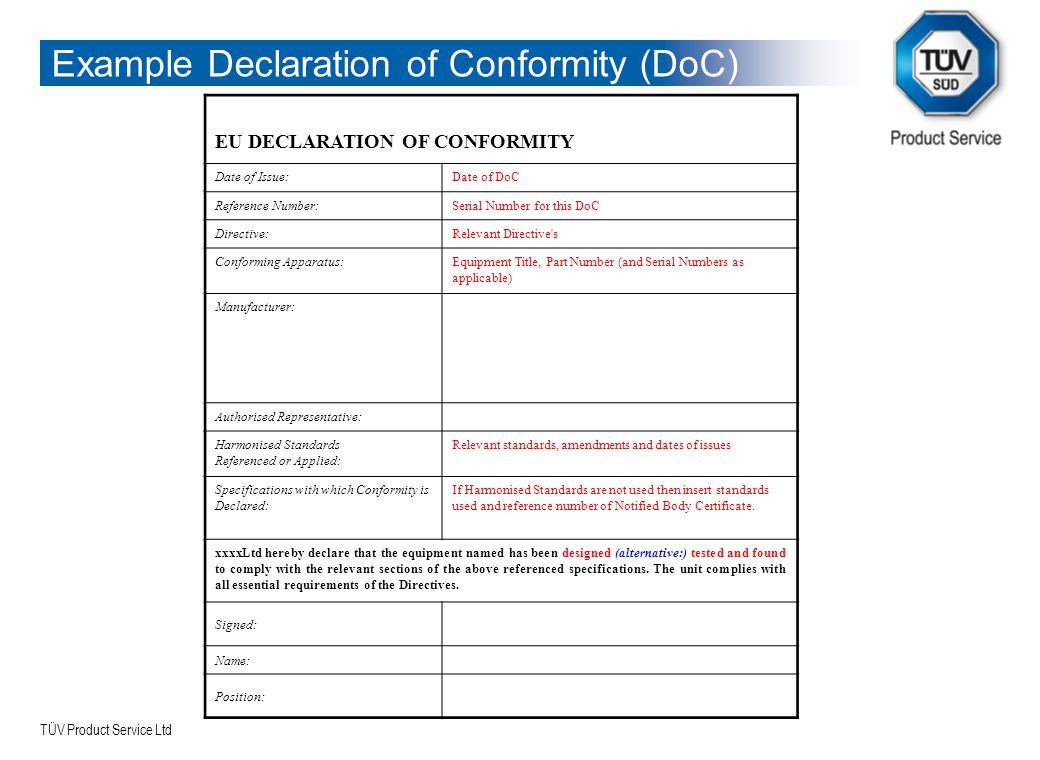 TÜV Product Service Ltd Example Declaration of Conformity (DoC) EU DECLARATION OF CONFORMITY Date of Issue:Date of DoC Reference Number:Serial Number