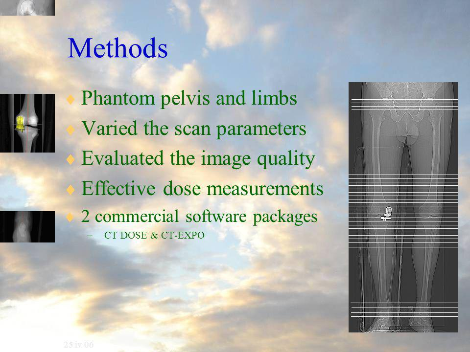 25 iv 06 Methods  Phantom pelvis and limbs  Varied the scan parameters  Evaluated the image quality  Effective dose measurements  2 commercial software packages – CT DOSE & CT-EXPO