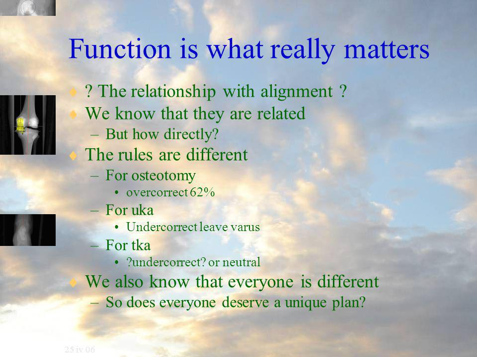 25 iv 06 Function is what really matters  . The relationship with alignment .