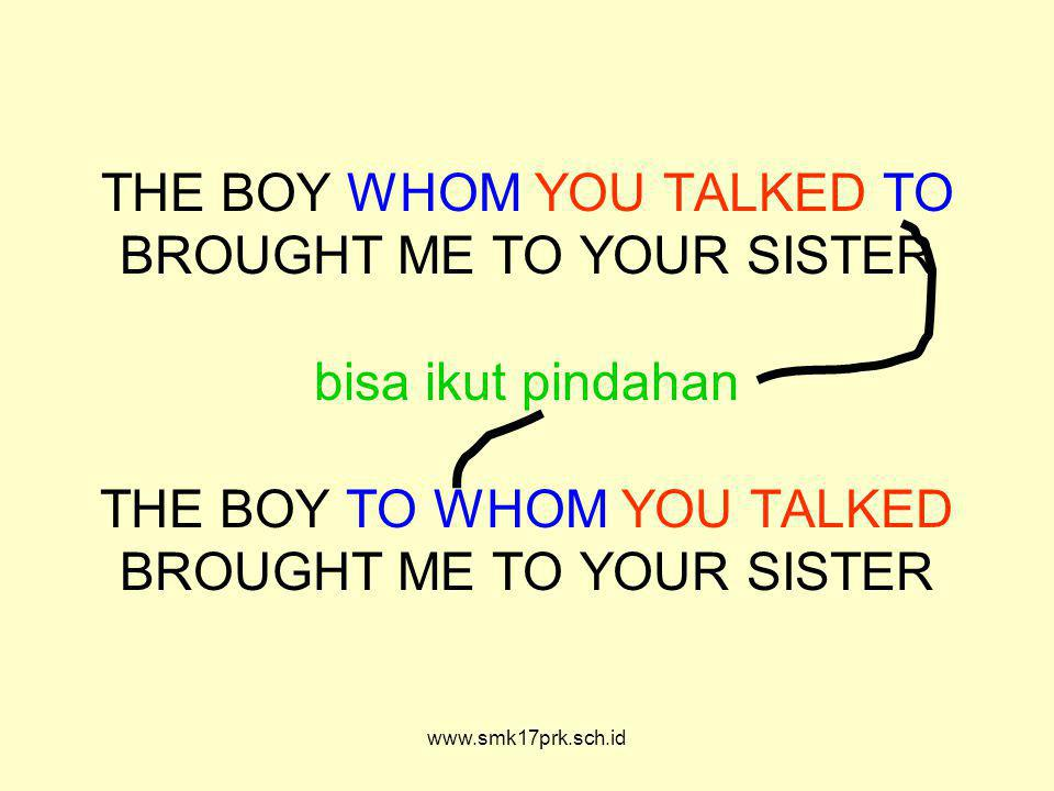 www.smk17prk.sch.id THE BOY WHOM YOU TALKED TO BROUGHT ME TO YOUR SISTER bisa ikut pindahan THE BOY TO WHOM YOU TALKED BROUGHT ME TO YOUR SISTER
