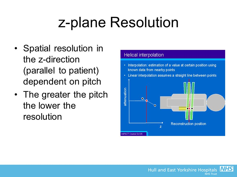 z-plane Resolution Spatial resolution in the z-direction (parallel to patient) dependent on pitch The greater the pitch the lower the resolution