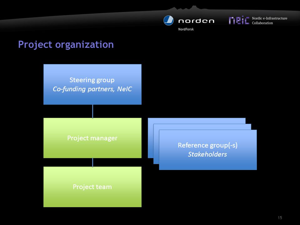 Project organization 15 Steering group Co-funding partners, NeIC Steering group Co-funding partners, NeIC Project manager Project team Reference group (stakeholders) Reference group (stakeholders) Reference group (stakeholders) Reference group (stakeholders) Reference group(-s) Stakeholders Reference group(-s) Stakeholders