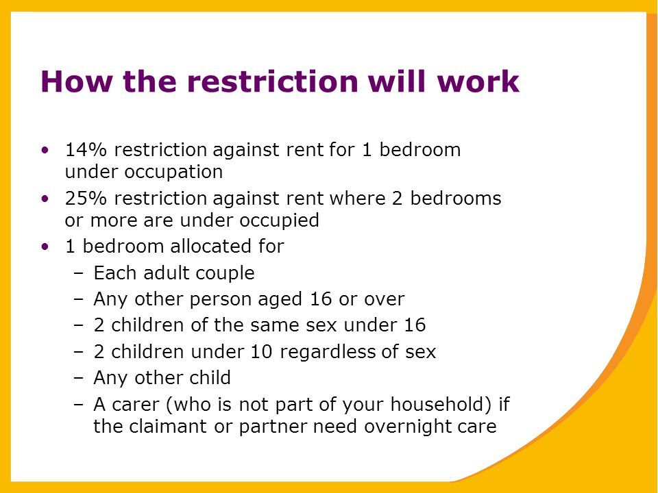 How the restriction will work 14% restriction against rent for 1 bedroom under occupation 25% restriction against rent where 2 bedrooms or more are under occupied 1 bedroom allocated for –Each adult couple –Any other person aged 16 or over –2 children of the same sex under 16 –2 children under 10 regardless of sex –Any other child –A carer (who is not part of your household) if the claimant or partner need overnight care
