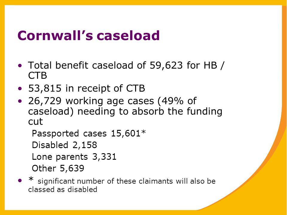 Cornwall's caseload Total benefit caseload of 59,623 for HB / CTB 53,815 in receipt of CTB 26,729 working age cases (49% of caseload) needing to absorb the funding cut Passported cases 15,601* Disabled 2,158 Lone parents 3,331 Other 5,639 * significant number of these claimants will also be classed as disabled