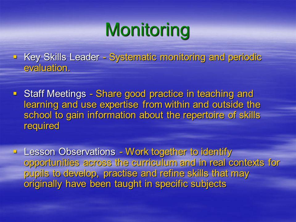 Monitoring  Key Skills Leader - Systematic monitoring and periodic evaluation.