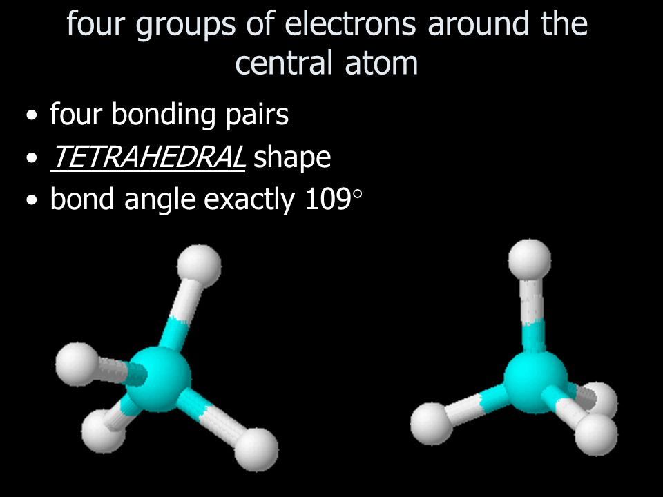 four groups of electrons around the central atom four bonding pairs TETRAHEDRAL shape bond angle exactly 109 