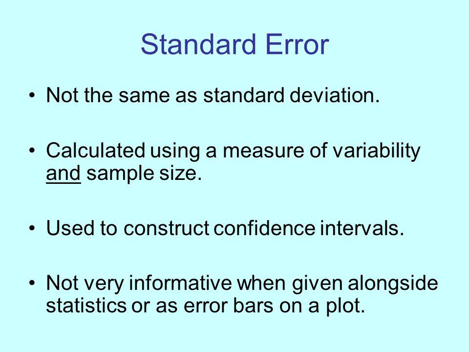 Standard Error Not the same as standard deviation.