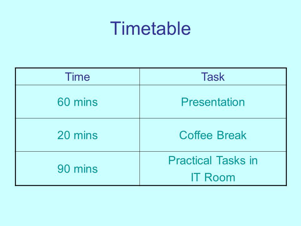 Timetable TimeTask 60 minsPresentation 20 minsCoffee Break 90 mins Practical Tasks in IT Room