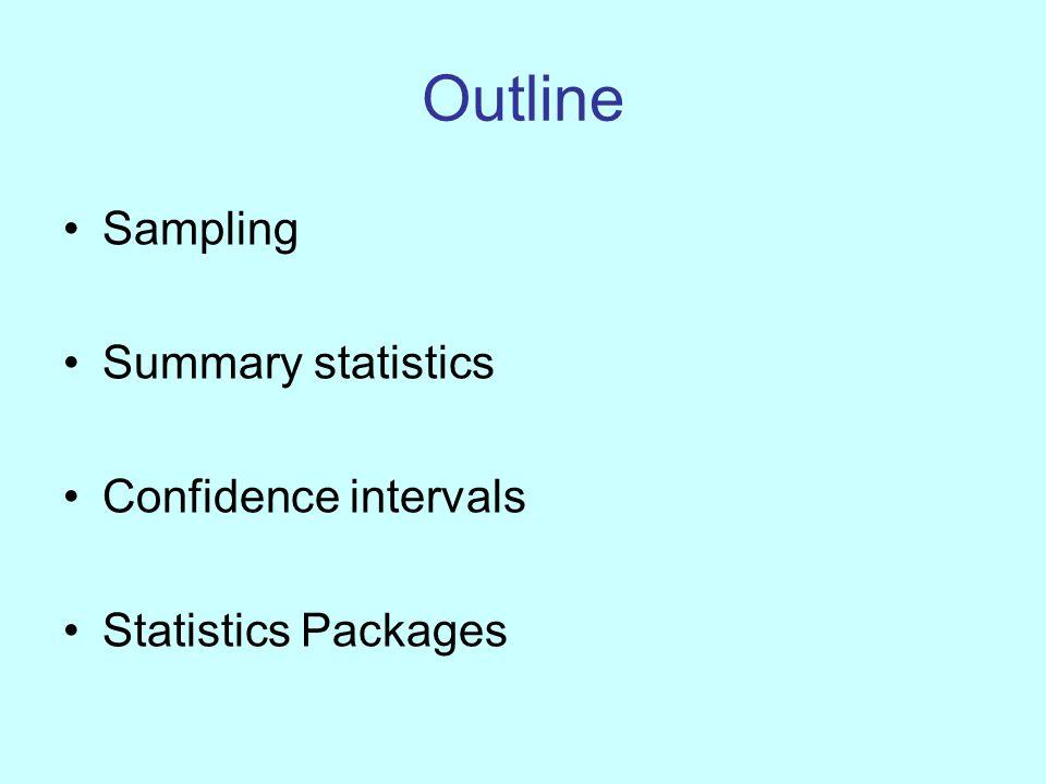 Outline Sampling Summary statistics Confidence intervals Statistics Packages