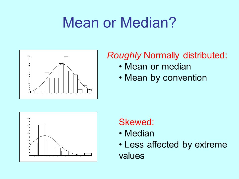 Mean or Median? Roughly Normally distributed: Mean or median Mean by convention Skewed: Median Less affected by extreme values