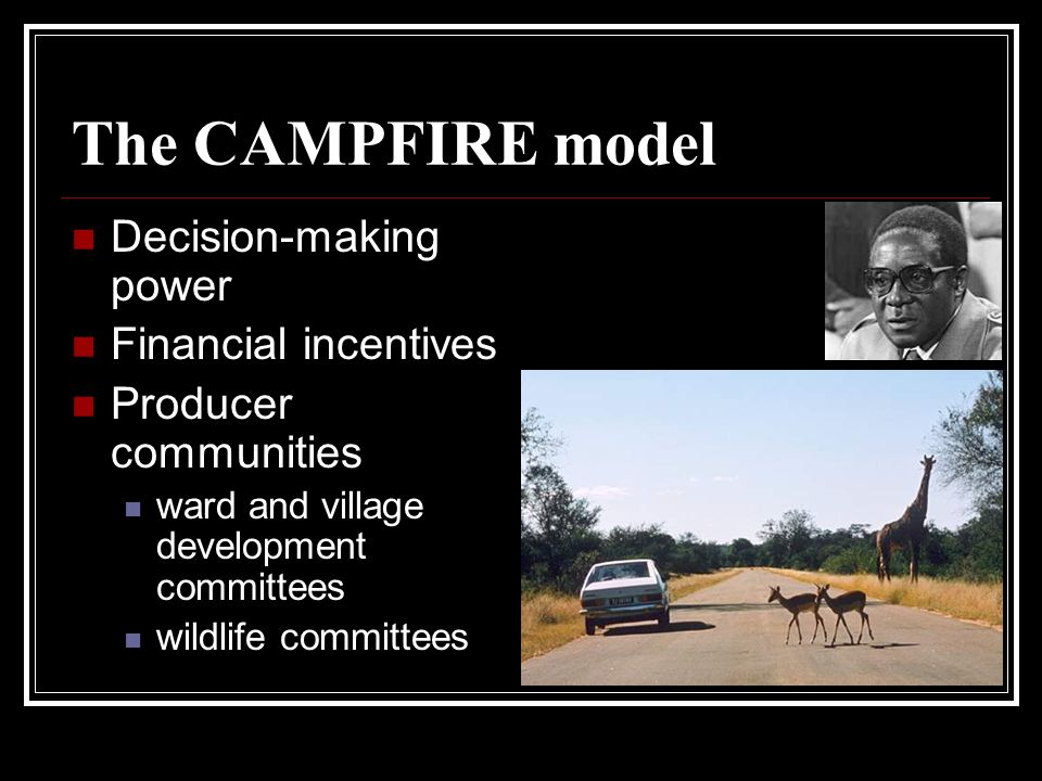 The CAMPFIRE model Decision-making power Financial incentives Producer communities ward and village development committees wildlife committees