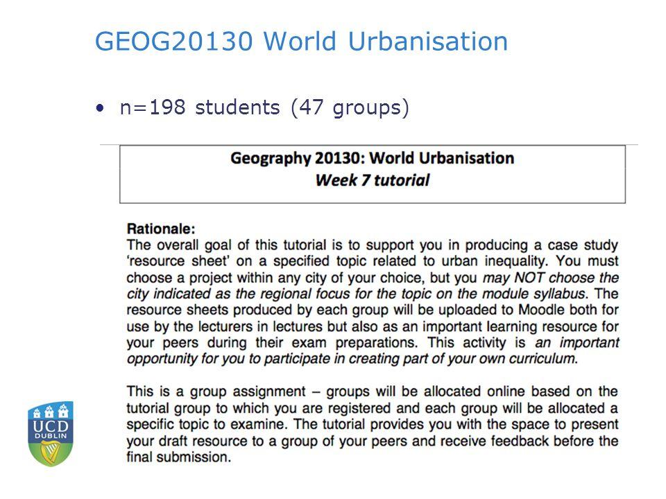 GEOG20130 World Urbanisation n=198 students (47 groups)