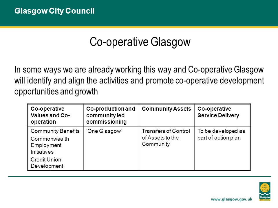 Co-operative Glasgow In some ways we are already working this way and Co-operative Glasgow will identify and align the activities and promote co-operative development opportunities and growth Glasgow City Council Co-operative Values and Co- operation Co-production and community led commissioning Community AssetsCo-operative Service Delivery Community Benefits Commonwealth Employment Initiatives Credit Union Development 'One Glasgow'Transfers of Control of Assets to the Community To be developed as part of action plan