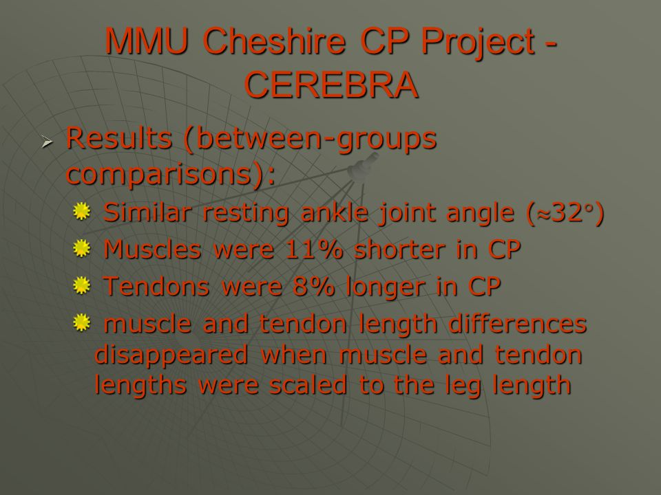 MMU Cheshire CP Project - CEREBRA  Results (between-groups comparisons): Similar resting ankle joint angle (32) Similar resting ankle joint angle (32) Muscles were 11% shorter in CP Muscles were 11% shorter in CP Tendons were 8% longer in CP Tendons were 8% longer in CP muscle and tendon length differences disappeared when muscle and tendon lengths were scaled to the leg length muscle and tendon length differences disappeared when muscle and tendon lengths were scaled to the leg length