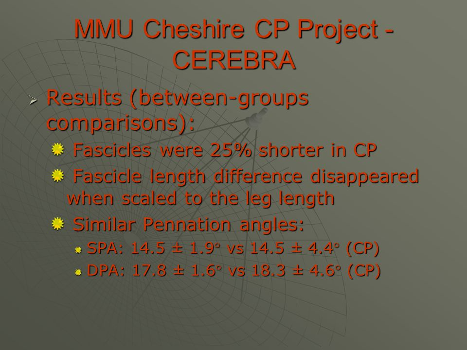 MMU Cheshire CP Project - CEREBRA  Results (between-groups comparisons): Fascicles were 25% shorter in CP Fascicles were 25% shorter in CP Fascicle l