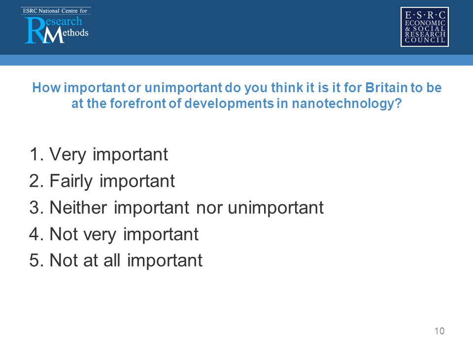 10 How important or unimportant do you think it is it for Britain to be at the forefront of developments in nanotechnology? 1. Very important 2. Fairl