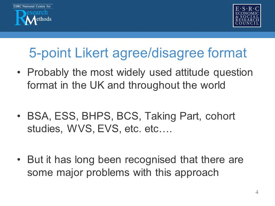 4 5-point Likert agree/disagree format Probably the most widely used attitude question format in the UK and throughout the world BSA, ESS, BHPS, BCS,